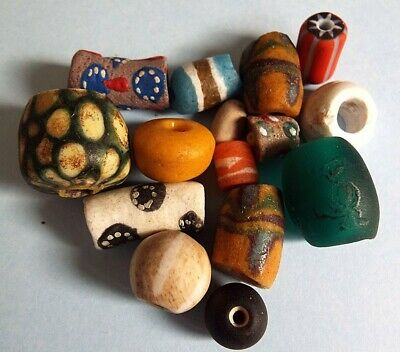 Ancient Roman Viking Egyptian Medieval Phoenician glass beads collection lot 9