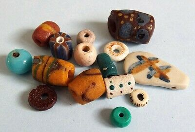 Ancient Roman Viking Egyptian Medieval Phoenician glass beads collection lot 13