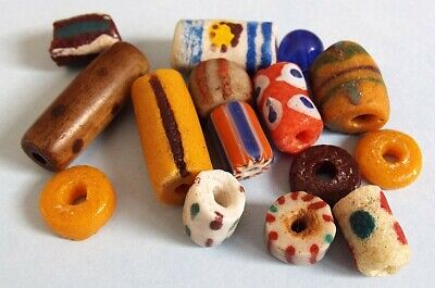 Ancient Roman Viking Egyptian Medieval Phoenician glass beads collection lot 14