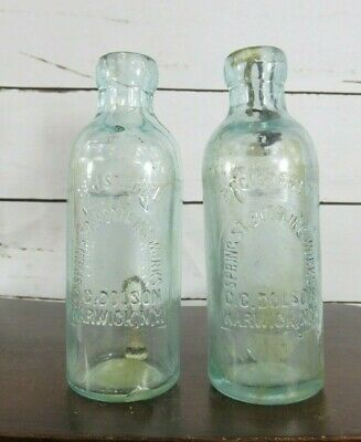 RARE PAIR of scarce  HUTCH BOTTLE SPRING STREET BOTTLING G.G DOLSON WARWICK NY