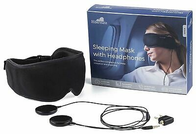 HIBERMATE Sleeping Mask w/ Headphones NEW IN BOX 3.3 Ft Cable In-Line Mic Comfy
