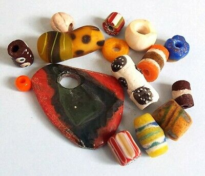 Ancient Roman Viking Egyptian Medieval Phoenician glass beads collection lot17