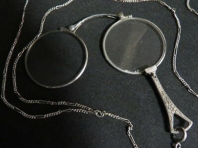 Antique Victorian Sterling Silver Lorgnette on Sterling Silver Chain