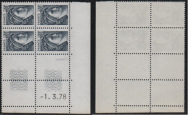 Timbres France Neufs N** coin daté N° 1962 1.3.78 gomme tropicale
