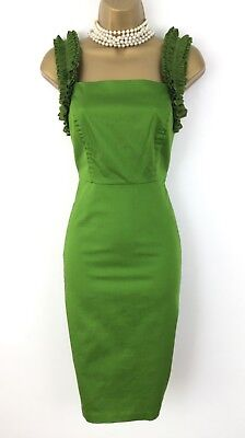 8c1de24339dfd TED BAKER Dress size 8 Used Green Stretch Wiggle Ruffled Summer Party  Bodycon