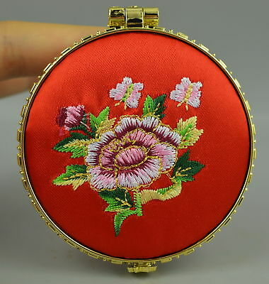 AAA Fine China Feature Embroidery Style Flower Rare Usable Mirror Decorate