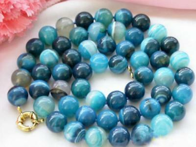 Genuine Natural 8mm Blue Striped Grain Agate Round Gemstone Beads Necklace 18''