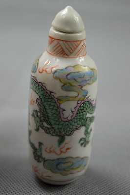 Chinese Collectable Porcelain Paint Dragon Exorcism King Use Old Snuff Bottle