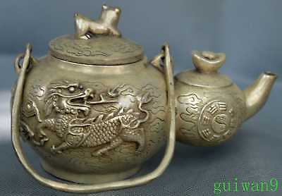 Collectable Miao Silver Carve Ancient Mighty Kylin King Use Old Handwork Teapot