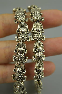AAA Fine Collect Tibet Silver Carve Wealth Spittor Rare Lucky Pair Bracelet