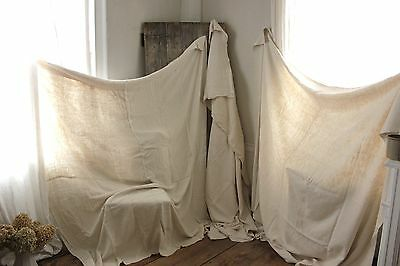 Vintage Sheets French linen SOFT upholstery fabric 3 MATCHING large pieces