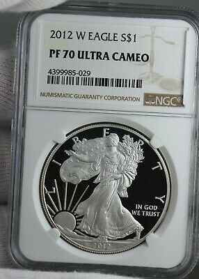 2012-W Proof American Eagle NGC Graded PR70 Ultra Cameo Holder 1 oz Silver Coin