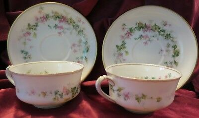 Lot of Two - Antique Limoge Haviland cups and saucers