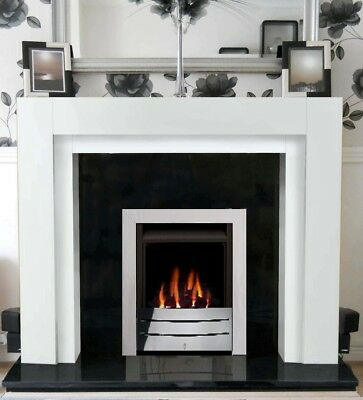 Chrome Gas Fire Black Granite White Fireplace Mantle Suite Wood Surround Marble