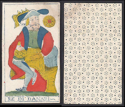 Tarot Spielkarte playing card Original 18th century carte a jouer Re di Danari