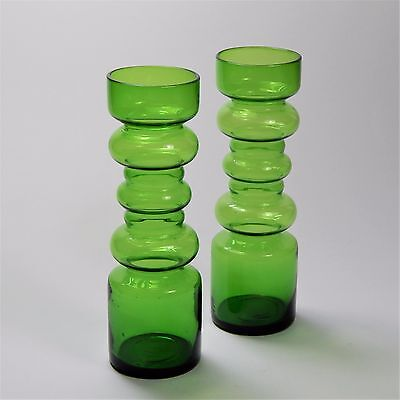 Vintage Pair Bright Green Scandinavian Hooped Glass Vases Mid Century