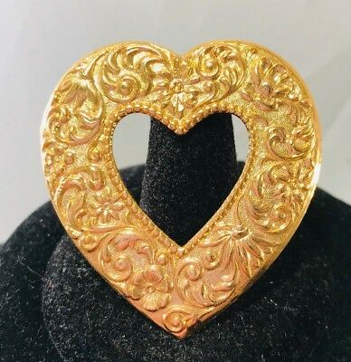 Vintage Big Heart Floral Textured Gold Tone Heart Brooch Pin Valentine's Day
