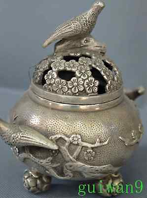 Noble Chinese Miao Silver Carve Flower Magpie Bird Exorcism Old Incense Burner