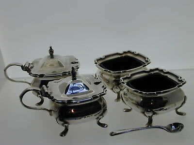 Silver cruet set blue glass mustard salt 1 spoon 1917 E S Barnsley & Co 253.3g