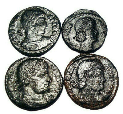 Lot of 4 Æ3-4 Ancient Roman Bronze Coins from IV. Century