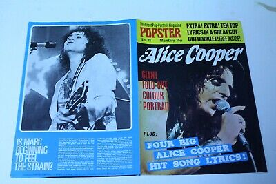 ALICE COOPER Posters in #11 POPSTER POSTER MAGAZINE 4 HIT SONG LYRICS 1974 NM