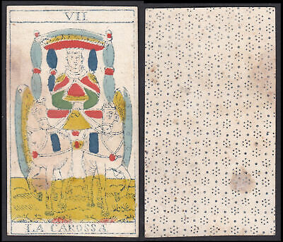 Original 18th century playing card carte a jouer Spielkarte Tarot La Carossa