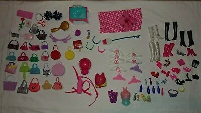 Big Lot of Barbie Doll Accessories shoes , purses hangers glasses lots more