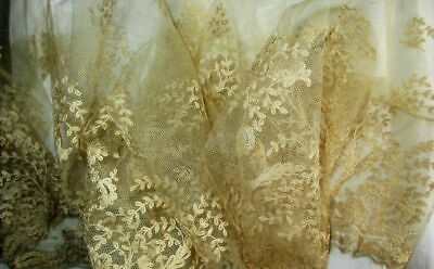 """FABULOUS LENGTH OF ANTIQUE NEEDLERUN EMBROIDERED NET LACE~115"""" x 11""""~TREES"""