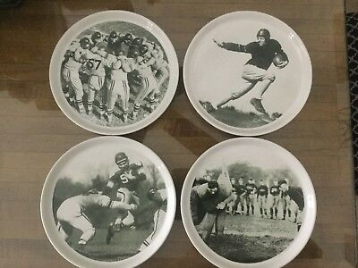 Vintage Pottery Barn Football Snack Plates Set of 4 Different Team Play Design