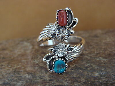 Native American Jewelry Sterling Silver Turquoise & Coral Adjustable Ring!