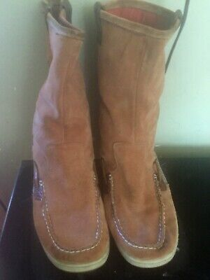 fde9cb5dd3f Sperry Top Sider Womens Tan Suede Brown Leather Slip On Moccasin Boots 9.5M