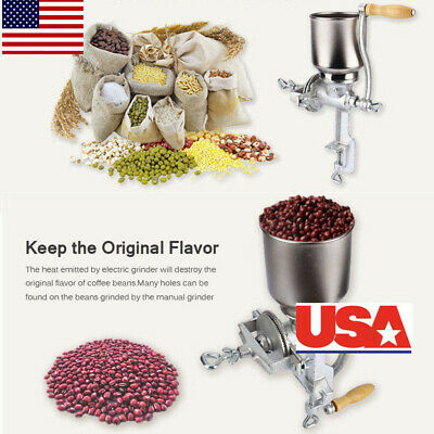 US Home Cast Iron Mill Hand Crank Manual Grains Grinder Corn Wheat Coffee Nuts