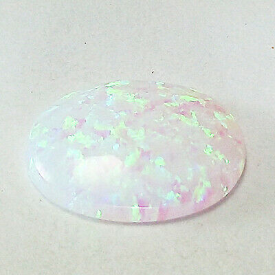 2.46 Cts 13Mm Opaque Cabochon Rainbow Color Rcinnatural Opal Loose Gemstone