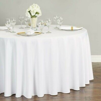 LinenTablecloth 120-Inch Round Polyester Tablecloth White New in plastic wrap