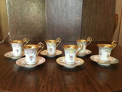 Richard Klemm Dresden Hand Painted Floral Blue Trim Gold Handle Chocolate Cup
