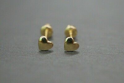 14K Solid Yellow Gold 3.5MM Tiny Small Polished Heart Scew Back Earrings.