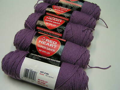 Red Heart Super Saver Yarn - Lot of Five 3 Ounce Skeins 531 Light Plum