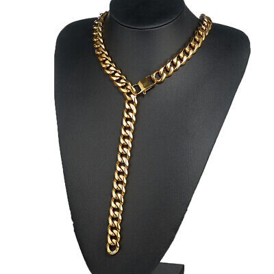 12/15/17/19mm Mens Chain Necklace Stainless Steel Gold Curb Xxxtentacion Choker