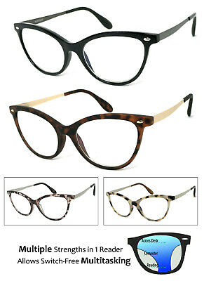 05909f0ff0f Cat Eye Progressive Reading Glasses 3 Strengths in 1 Reader Multi Focus  Readers