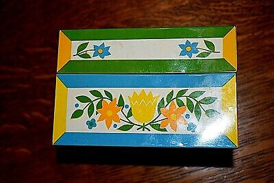 Syndicate Mfg. Co. Blue, Green & Yellow Floral Metal Recipe Box