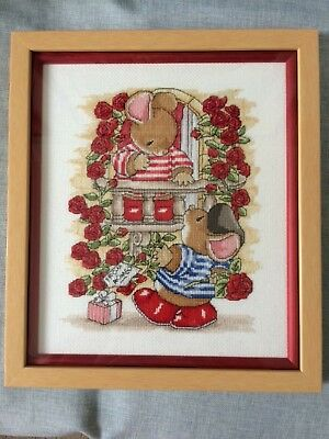 Completed framed Cross Stitch Country Companions Romeo & Juliette framed & glass