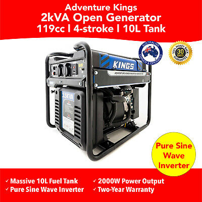 New 2 KVA Adventure Kings Camping Inverter Generator Pure Sine Wave Portable