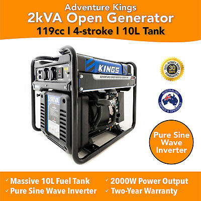 New Camping Generator Inverter Genset Pure Sine Adventure Kings Portable