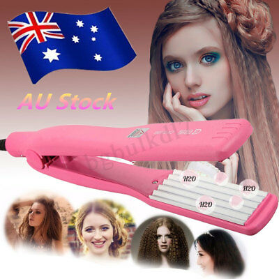 Hair Curler Crimper Ceramic Iron Rollers Curling Anion Wave WetDry Wand Gift AU