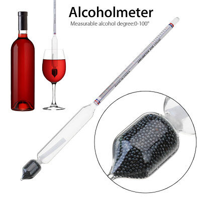 26.5CM 0-100° Glass Hydrometer Alcohol Thermometer Meter AlcoholMeter Tester