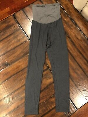 Luxe Essentials By A Pea In The Pod Maternity Full Panel Gray Leggings Size Med