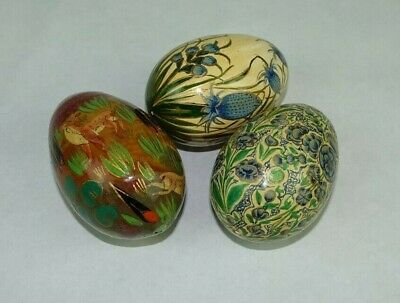 3 Wood painted Easter Eggs ~ Size of a real egg