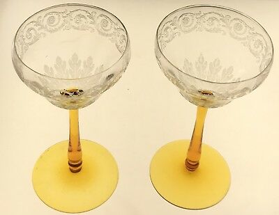 2 Rare Vintage  Champagne Glasses ~ Clear Etched Crystal Bowls with Amber Stem