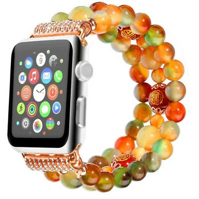 Bling Crystal Pearl Beads Bracelet Wrist Watch Band for Apple Watch 3 2 38/42mm
