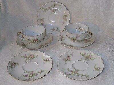 7pc Theodore Haviland Rosalinde NY White Floral Teacup Cups and Saucers Plates